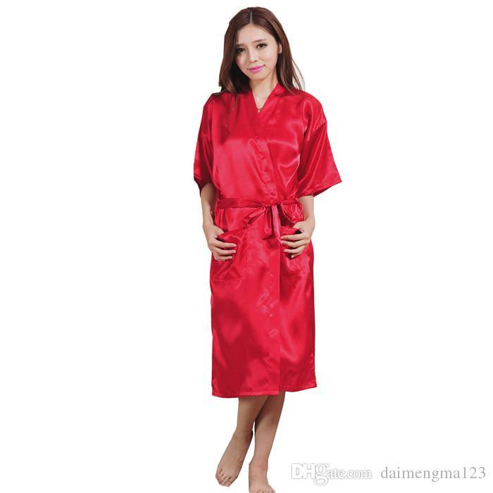 Fashion Women's Solid Silk Kimono Robe for Bridesmaids Wedding Party Night Gown Pajamas M011