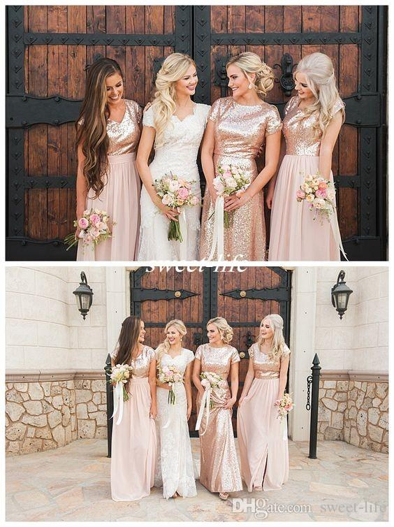 caf32a94201 Mismatched Rose Gold Sequin Long Bridesmaid Dresses Pink Chiffon Cap Sleeve  Crew Neck 2017 Country Wedding Guest Evening Gowns Maid Of Honor Camo  Bridesmaid ...