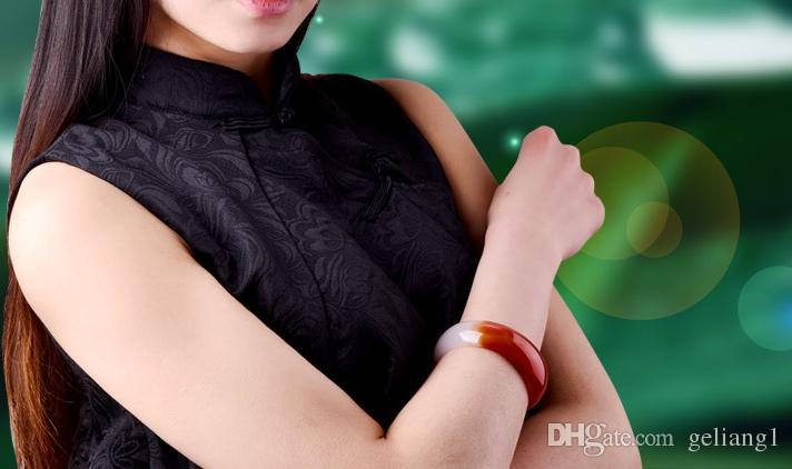 Рука-резные натуральный красный и белый агат Браслет. Первый выбор красивой леди