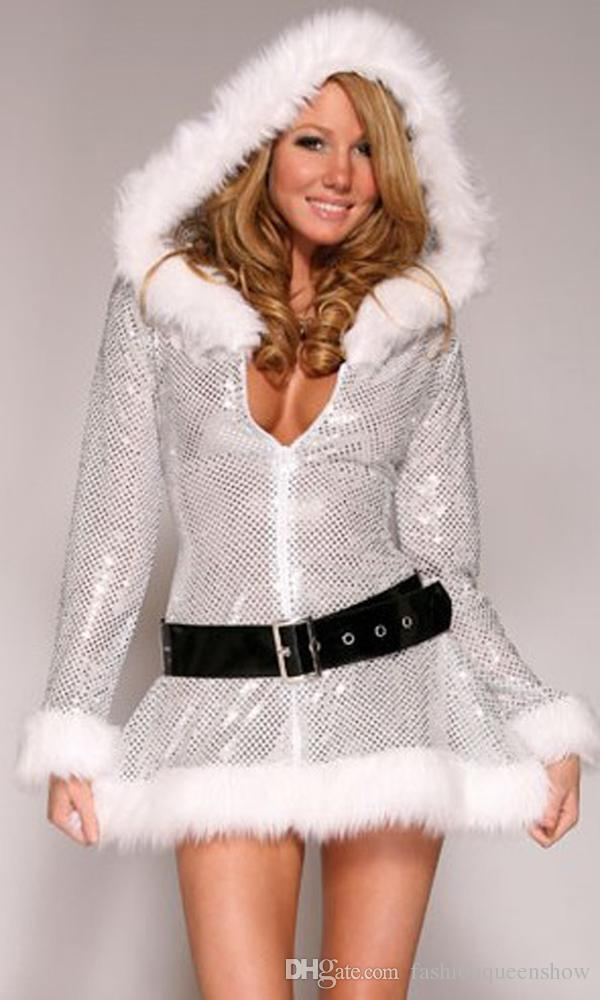 Exclusive Silver Fantasy Christmas Costume Women Santa Costume Sexy Miss Claus Halloween Party ...