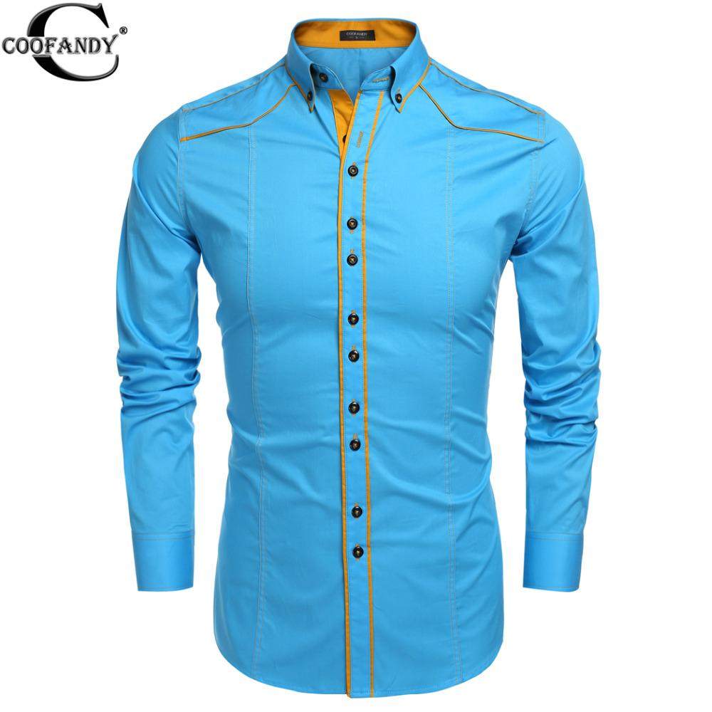 3ede2f4ddde 2019 Wholesale COOFANDY 2016 Brand Spring Men Slim Long Sleeve Turn Down  Collar Blouse Shirt Contrast Color Cotton Button Down Casual Shirts From  Red2015