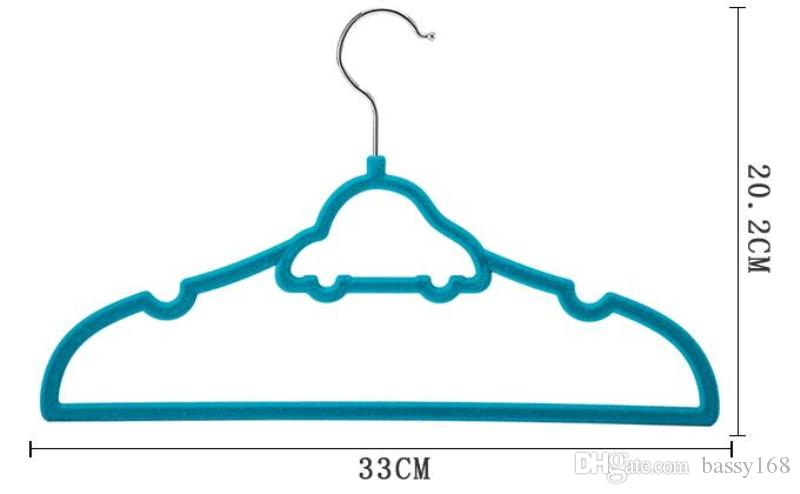 33cm Closet Velvet Hangers Functional Non-slip Thin Magic Flocking Space Save Storage Racks Car SHape for Babies Children Kids Pets