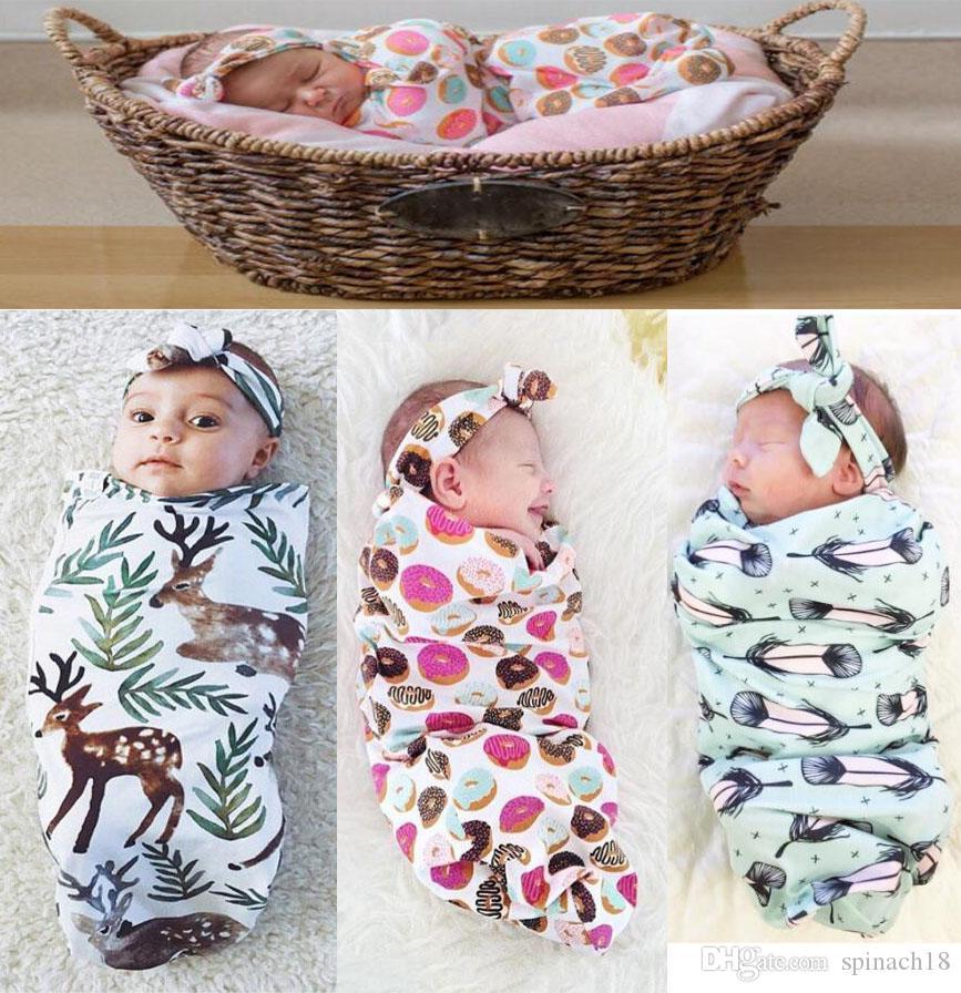 Ins New Infant Baby Swaddle Sleeping Bags Baby Boys Girls Muslin Blanket + Headband Newborn Baby Soft Cotton Cocoon Sleep Sack Two Piece Set