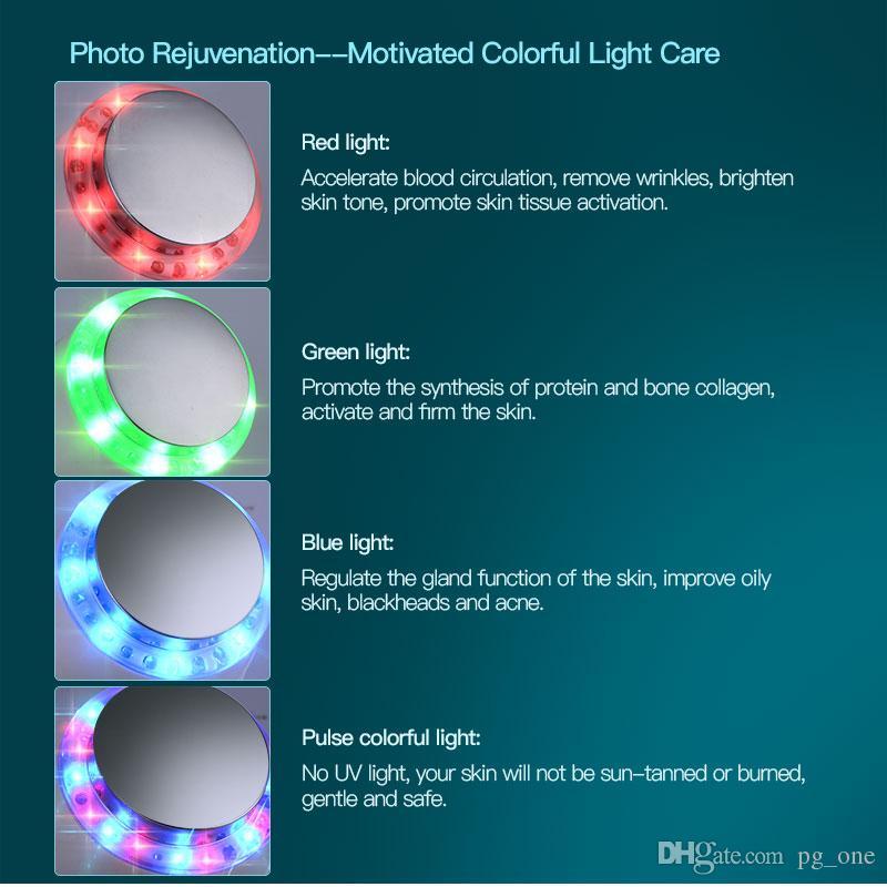 Ultrasonido ultrasónico es fotón LED antienvejecimiento arruga la terapia de cuidado de la piel Facial Dispositivo de masajeador portátil uso en el hogar instrumentos