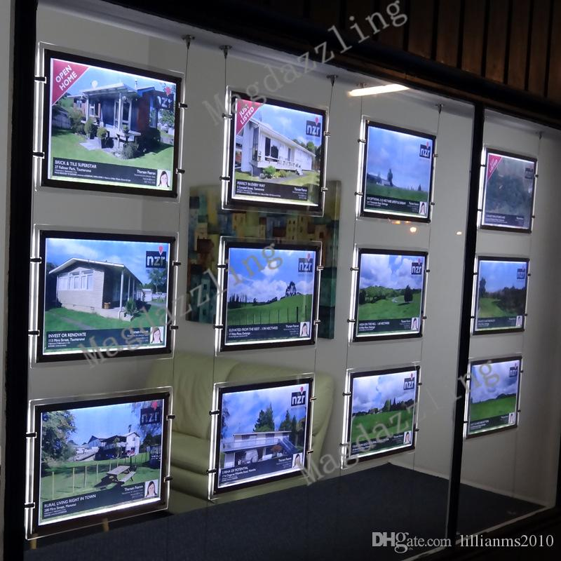 a4 single sided acrylic frame led wall hanging display systemsreal estate agent led window display kits acrylic poster frames from
