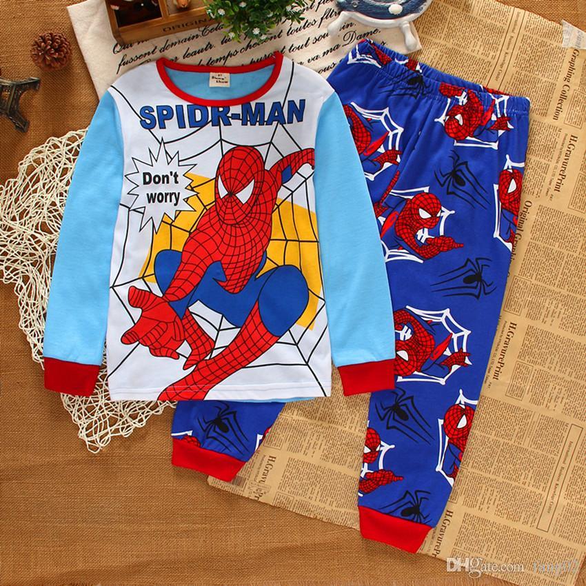 a7e65454c5cd Kids Pajamas New Boys Autumun Spring Pyjamas Long Sleeve Tshirt + ...