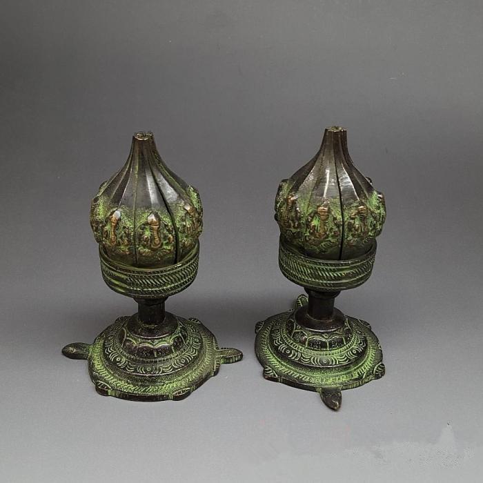 Antique bronze cobre Castiçal ornamentos antiguidade Nepal longevidade tartaruga lotus vela coleção base decorativa
