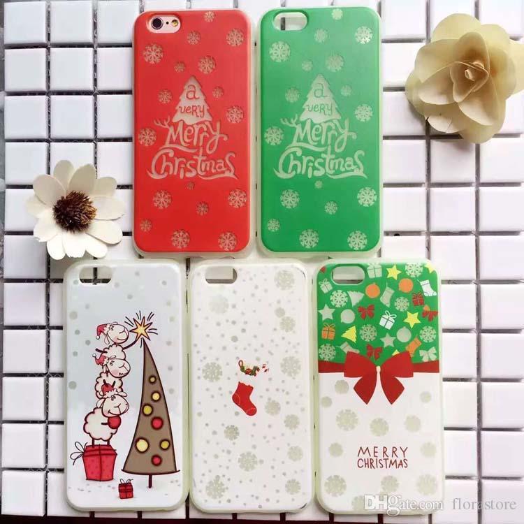 New Year Santa Soft TPU+PC Noctilucence Phone Case Christmas Luminous Light Bright Phone Cover for iPhone 7 7plus 6 6s 6plus 6splus X