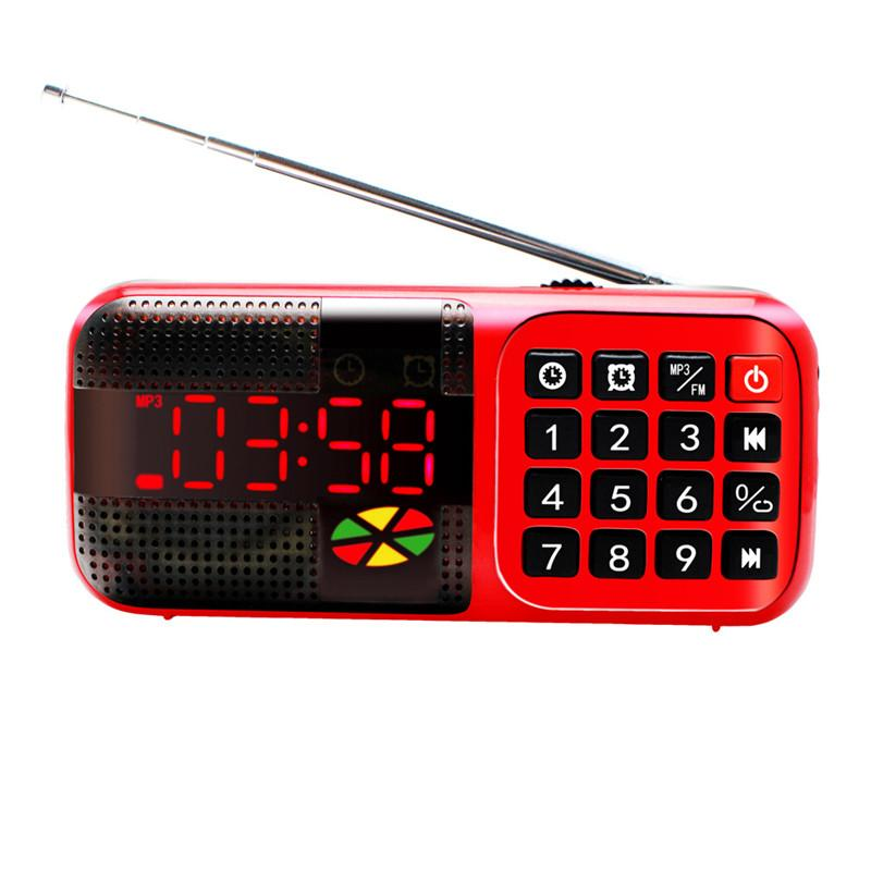 Wholesale-Portable Mini FM Radio Receiver With Clock Function TF Card Support MP3 Music Player Digital FM Radio With LCD Display Red/Blue