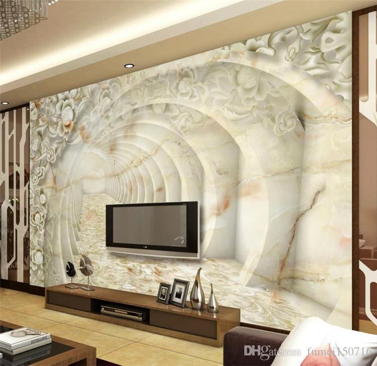 3D Wallpaper Marble Relief Pattern Custom 3d Home Decor Wallpaper ...