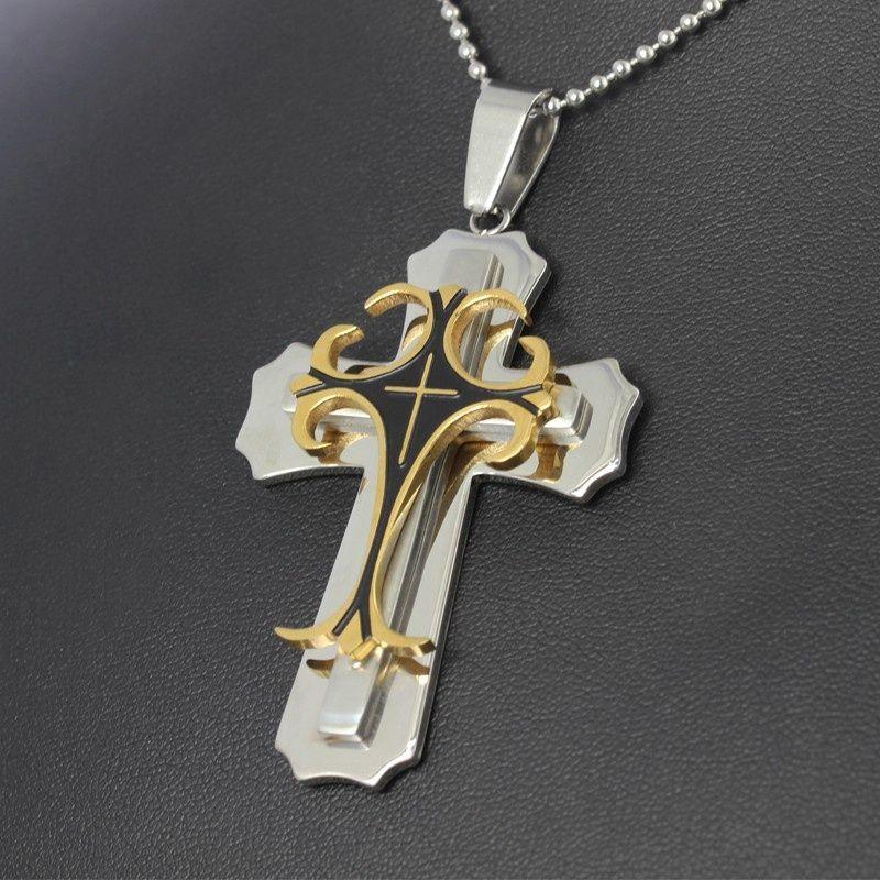 Silber Gold Schwarz Retro Multilayer Edelstahl Halskette Spezielle Kreuz Design Halsketten Anhänger Modeschmuck Für Männer P84