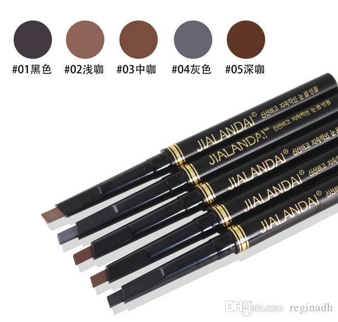 Mulheres À Prova D 'Água Sobrancelha Automática 5 Cores Eye Brow Delineador Sobrancelha Caneta Lápis Com Escova de Maquiagem Cosméticos Ferramenta Frete grátis DHL