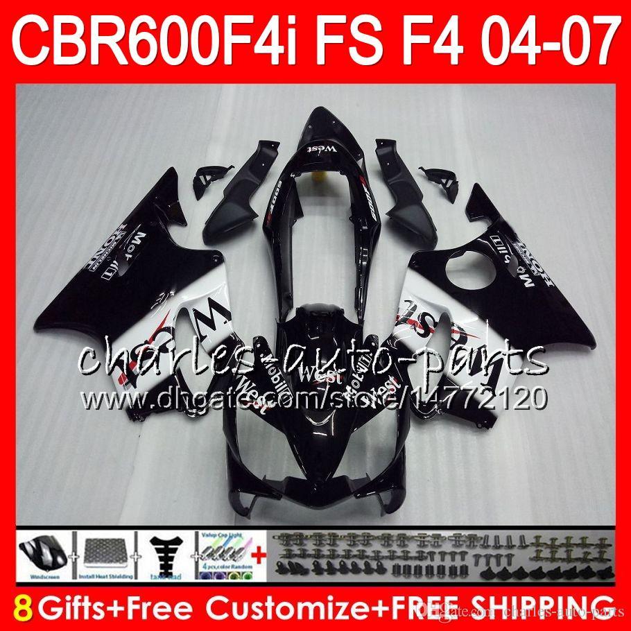 8Gifts Pour HONDA CBR 600 F4i CBR600F4i 04 05 06 07 46HM4 Noir Ouest CBR600FS FS CBR600 F4i CBR 600F4i 2004 2005 2006 2007 Carénage