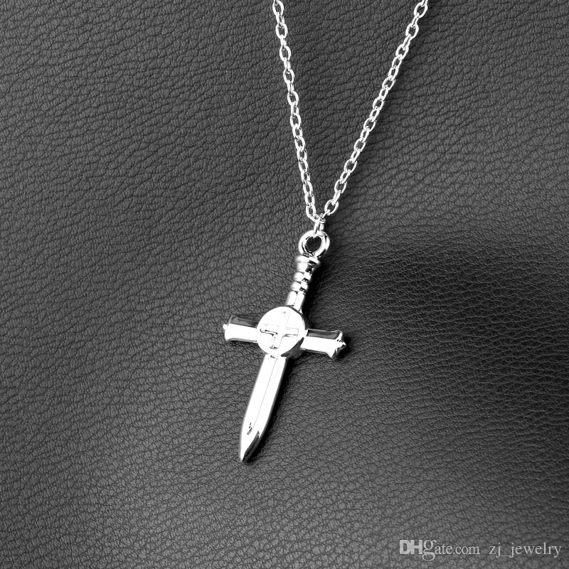 New Fashion Jewelry Fairy Tail GrayFullbuster Silver Cross double side Pendant Necklace Gift For Boyfriend Men