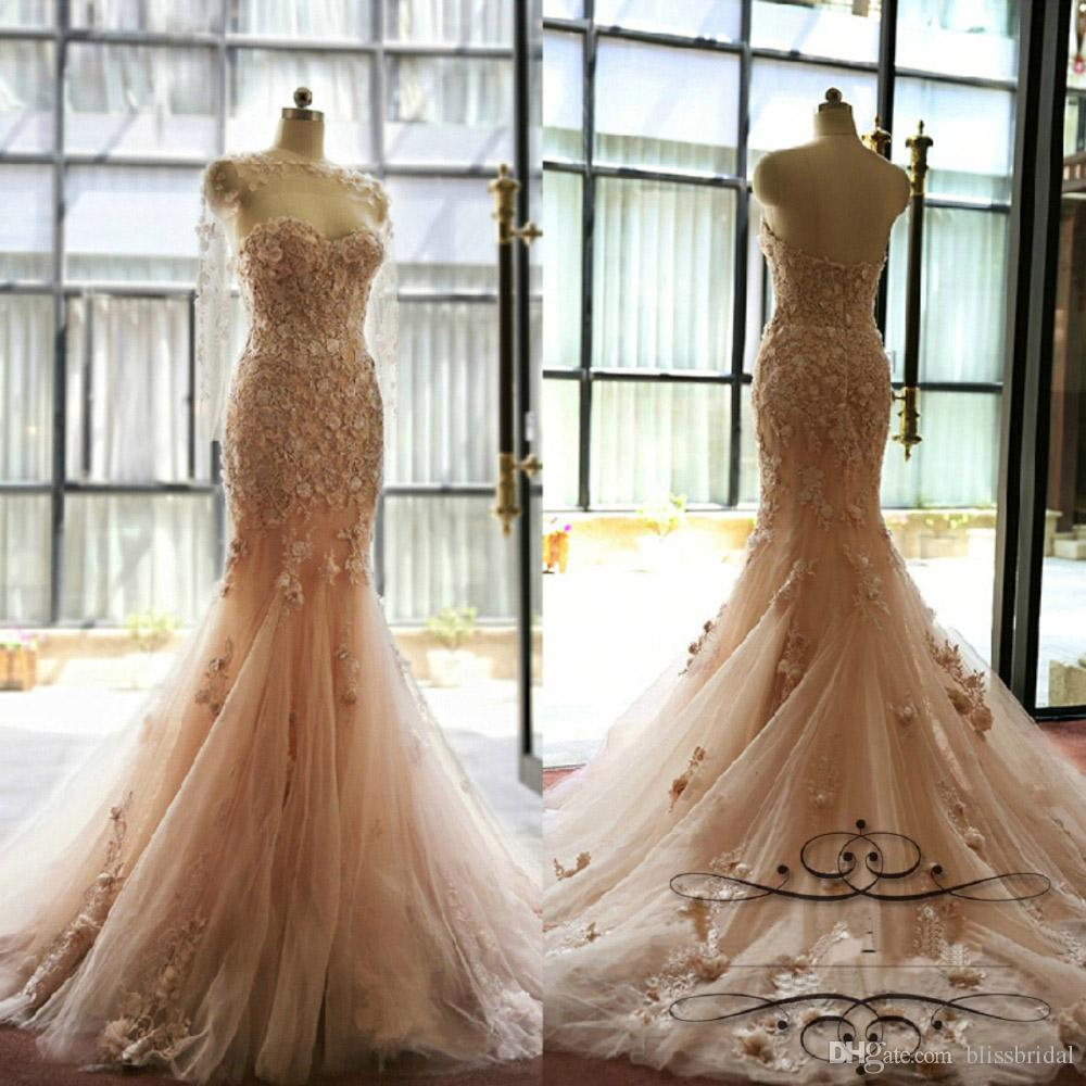 Delicate 3D-Floral Appliques Lace Pink Mermaid Wedding Dress Sweetheart Neck Tulle Formal Dresses Sweep Train Hand Made Flowers Bridal Gowns