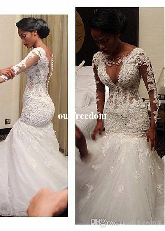Africa Style 2019 Lace Appliques Long Sleeve Wedding Dresses Back Cover Button Mermaid White Plus Size Bridal Gown Custom Made