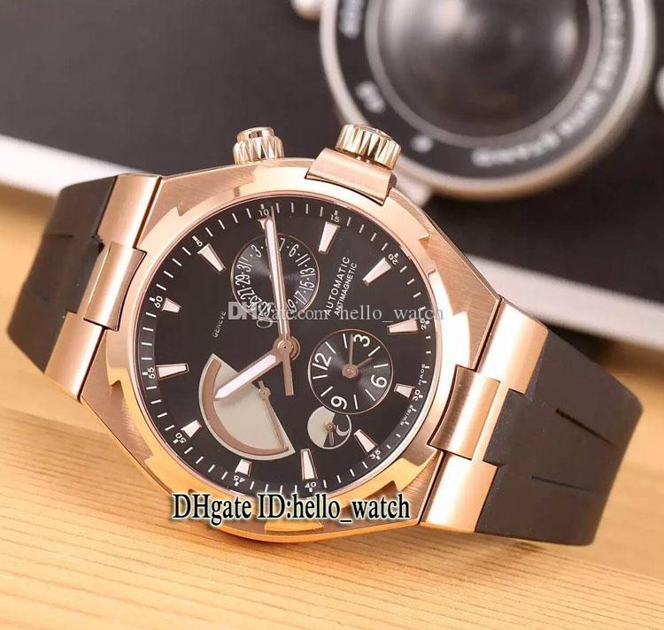 Cheap New Overseas Dual Time Brown Dial Power Reserve 47450 Automatic Mens Watch 47450/000M Rose Gold Case Rubber Strap Watches hello_watch