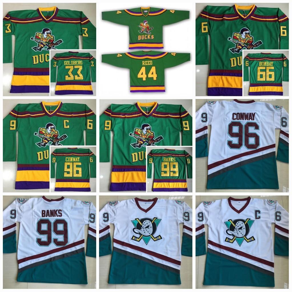 a2db59309 2019 Mighty Ducks Jerseys 66 Gordon Bombay 96 Charlie Conway 99 Adam Banks  Hockey Jerseys The Mighty Ducks Of Anaheim Men Movie Jerseys Old Style From  ...