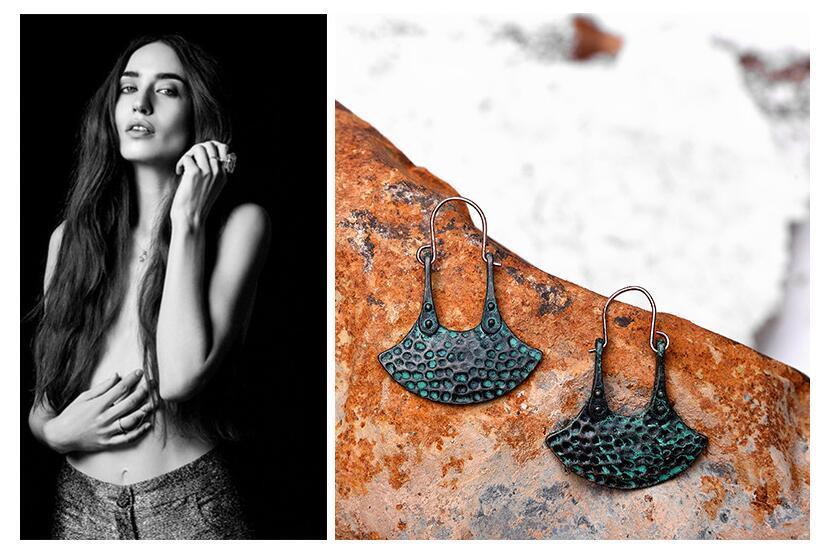 Orijinal fan şeklinde geometrik küpe moda bayan Patina serisi sıcak tarzı retro tarzı dangle küpe