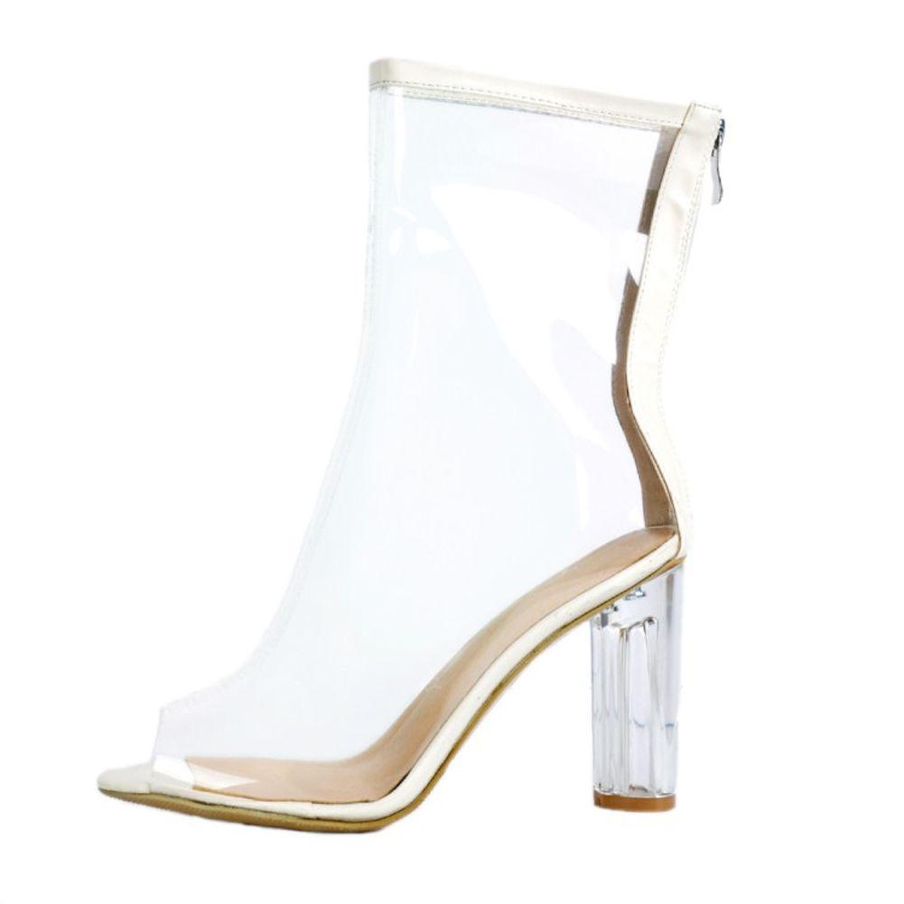 Zandina Womens Yeni Varış El Yapımı PVC Temizle Kalın Yüksek Topuk Ayakkabı burnu Yaz Seksi Moda Çizmeler XD402