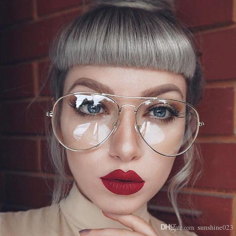 New Fashion Gold Clear Glasses Myopia Clear Frame Glasses Women ...