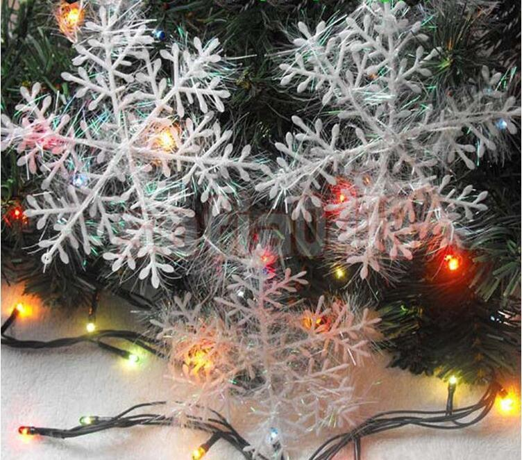 3 unids / pack decoración de copo de nieve de Navidad blanca decoraciones para el árbol de Navidad cadena de nieve decoración de año nuevo adornos suministros de Navidad