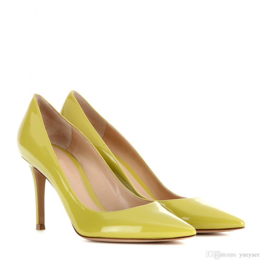 Zandina Handmade Fashion 8cm High Heel Pumps Simple Style Slip-on Pointy Party Evening Wedding Stiletto Shoes K370