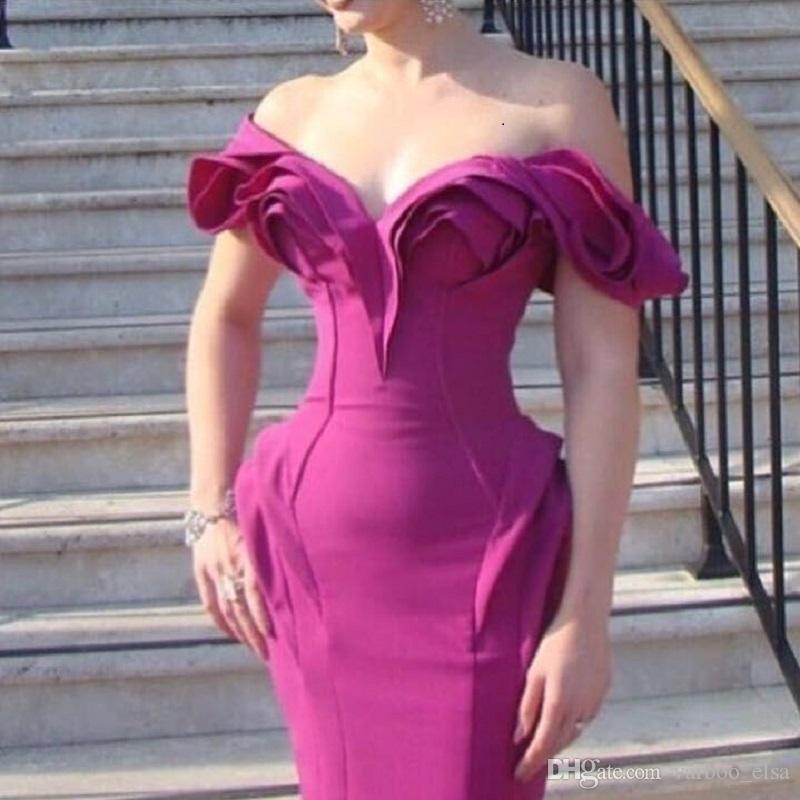 Varboo_elsa Fushia Evening Dress 2017 Satin Ruffle Neckline Sheath ...