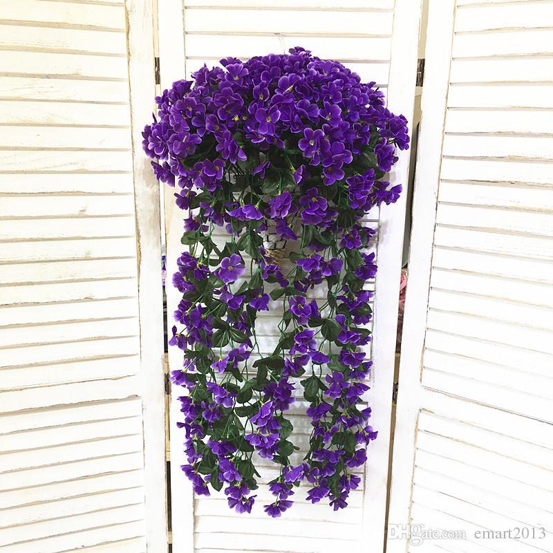 Gillyflower künstliche Blume Rohr Wand Hung Hochzeit gefälschte Blumen Brautsträuße Dekoration Garten Vase Blumen mit Bambus Korb
