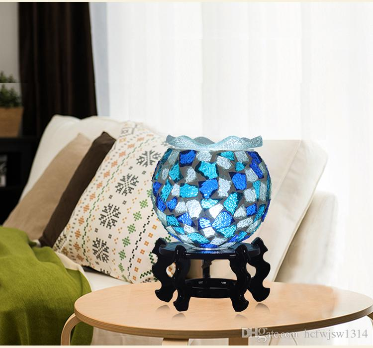 Bohemia bedroom bedside table lamp bar restaurant color glass decoration retro lamp