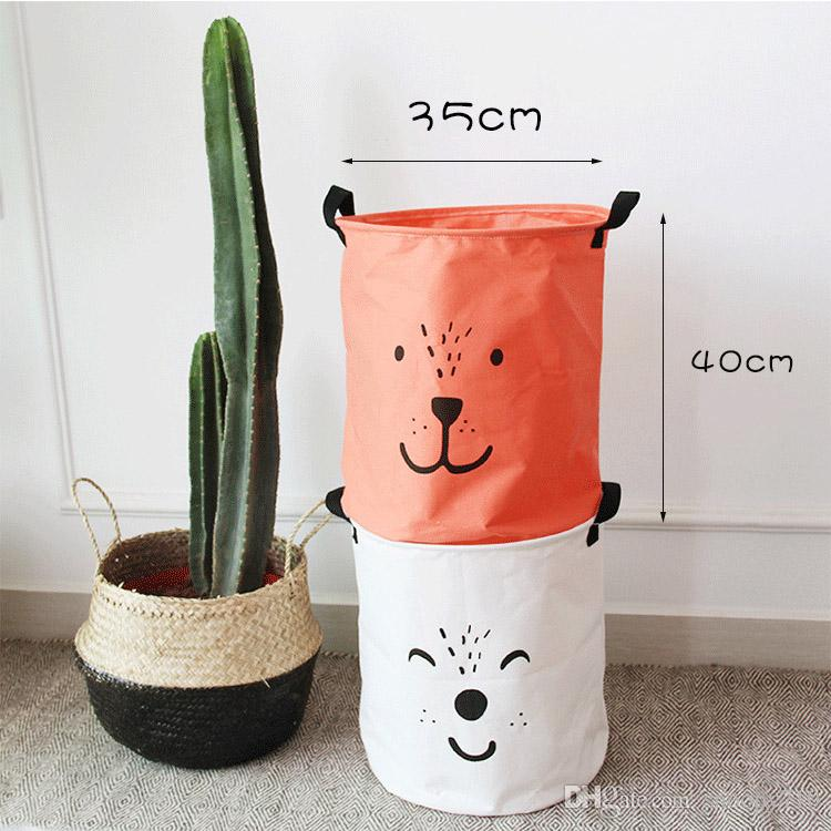New Style Cartoon solid Canvas Cotton Linen Clothing storage Laundry Basket/Bags for Toys/Book/towels Basket