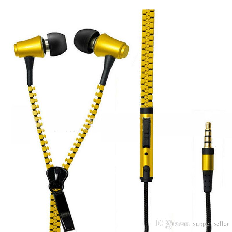 Zipper headset 3.5mm Connector In-Ear Wired Stereo Bass Remote&Mic Earphone For Samsung IPHONE For all phone