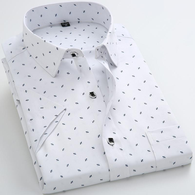 Men Print El Short Sleeve Casual Shirt Europe Fl Male 100 Cotton Soft