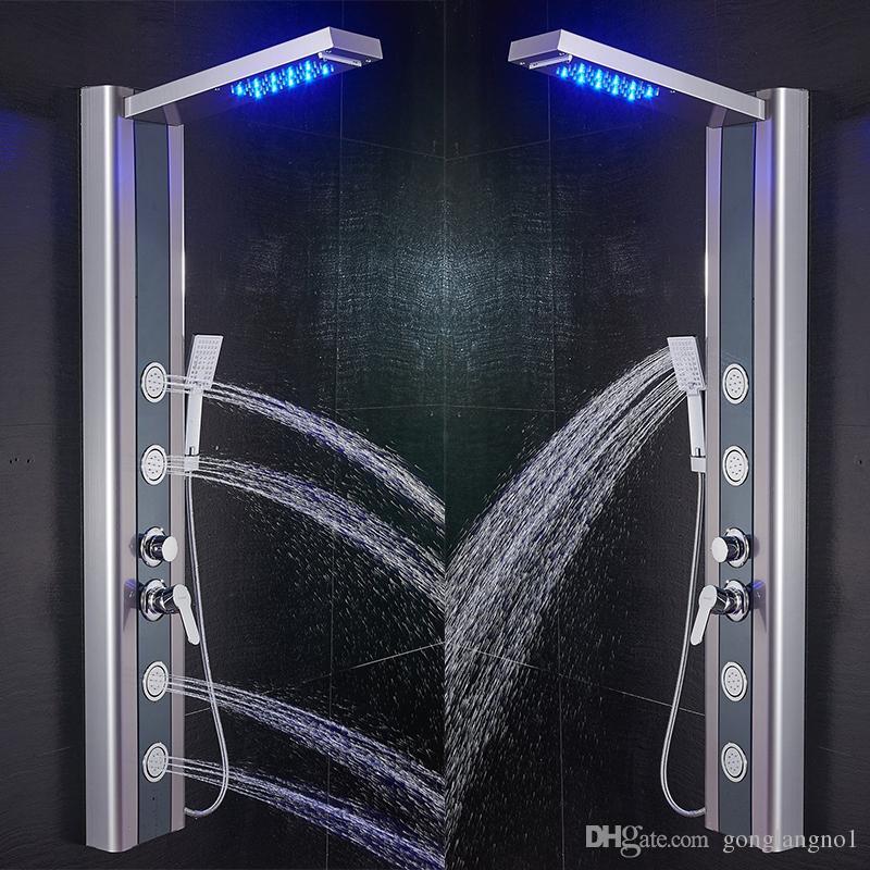 Kran prysznicowy LED Rainfall Wodospad Głowica Prysznicowa 3 Model Mist Handshower Masaż Spa Jets Pojedynczy uchwyt Mikser Tap Kran