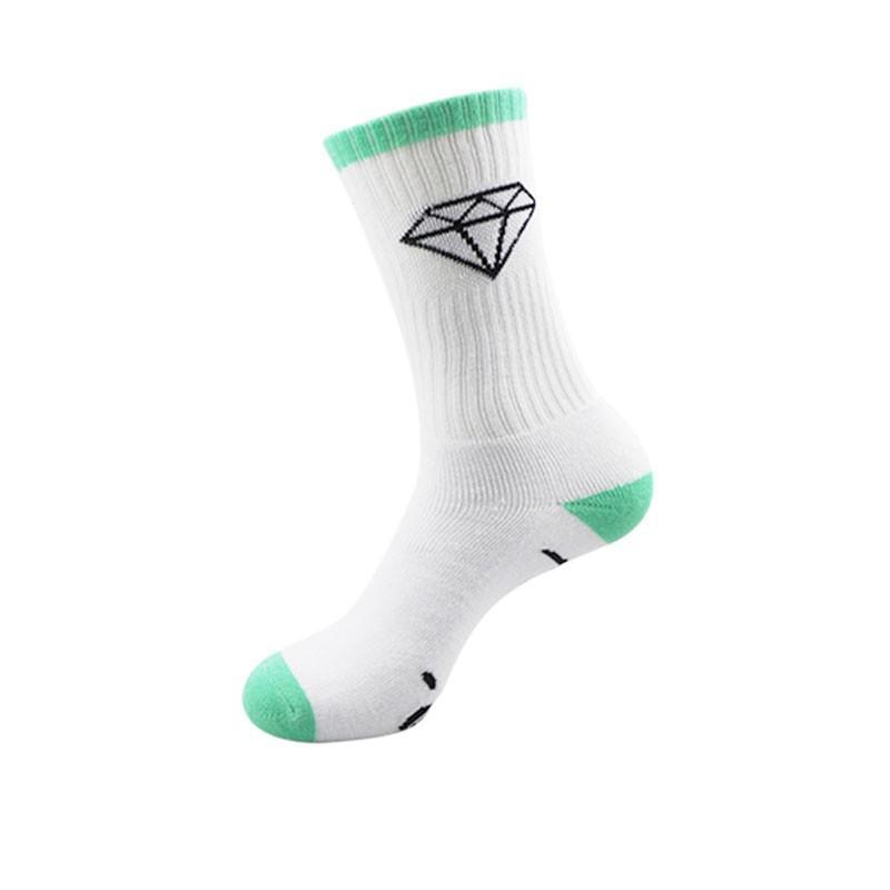 2021 Yüksek Kalite Erkekler Marka Uzun Çorap Klasik Elmas Kaykay Sıkıştırma Terry Pamuk Erkek Casual Sepet Meias