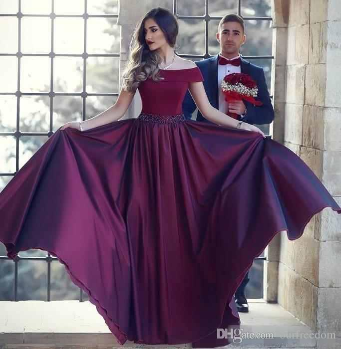 2019 Dark Red Off The Shoulder Prom Dresses A Line Sash Beads Sequins Satin African Dresses Evening Wear Floor Length Women Party Gowns