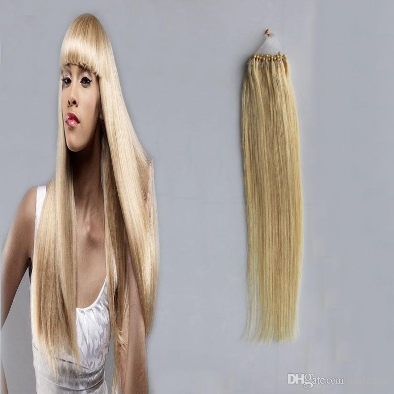 #613 Bleach Blonde micro loop hair extensions 50g beaded micro link extensions 50 strands