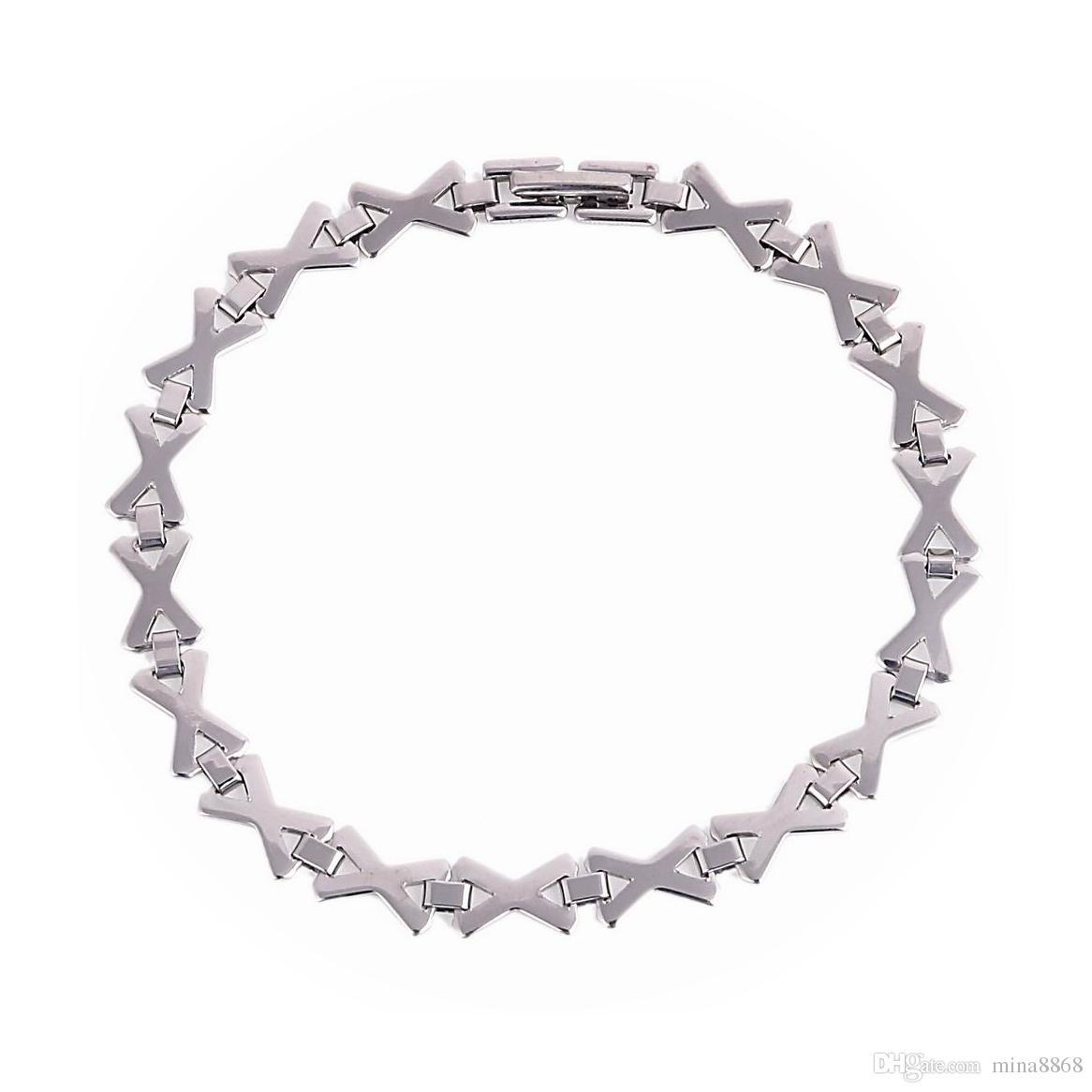 Prosta konstrukcja bransoletka łańcucha ze stali nierdzewnej dla mężczyzn damski x list bracety łańcuchowe bransoletki męskie kobiece hip hop party punk rock biżuteria