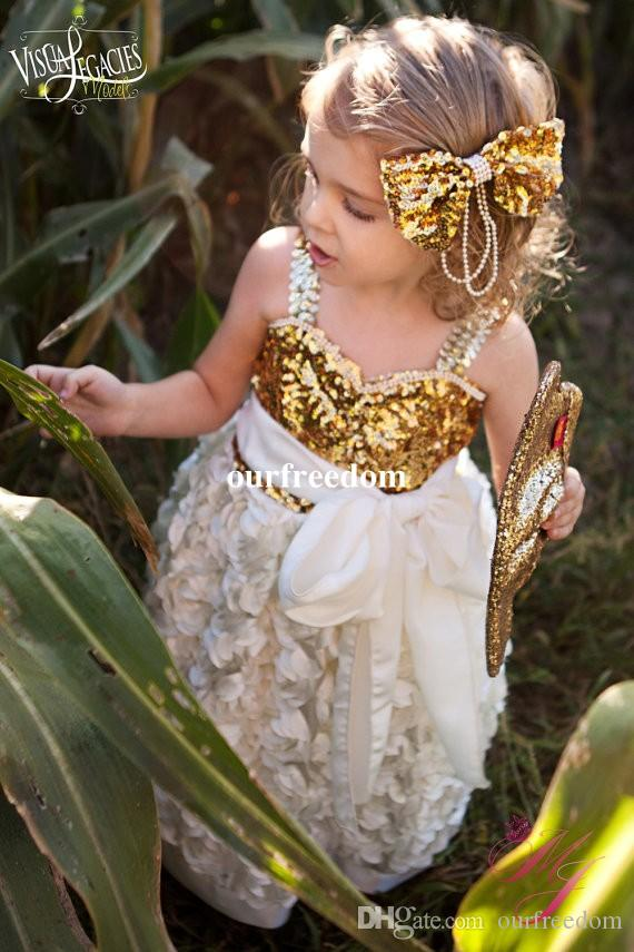 Custom Made Gold Sequins Flower Girls Dresses 2019 Sweetheart Princess Rosette A Line Girls Birthday Party Gowns White