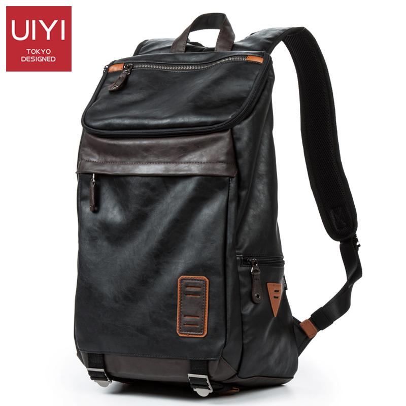 b38b2e27cda2 Wholesale UIYI Men S Backpack PU Leather Laptop Shoulder Bags Multi Pocket  Soft Leather Male Black Backpack Preppy Style Zipper School Bag Travel  Backpack ...