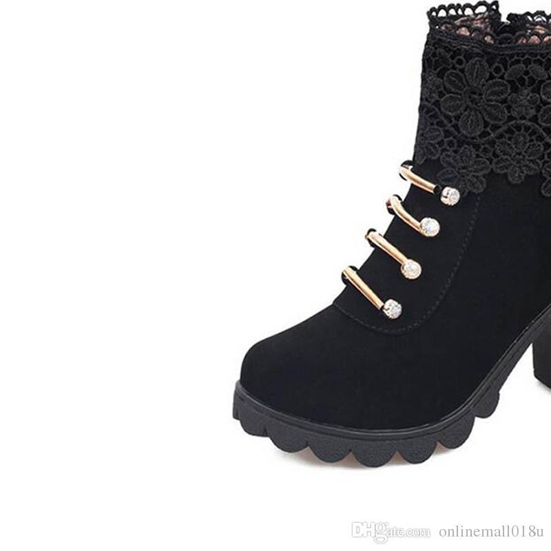 Moda Taklidi çizmeler kadın Klasik çiçekler ayakkabı kadın takozlar Kalın Topuk Yeni Ayak Bileği çizmeler Yüksek Topuk Martin Çizmele ...