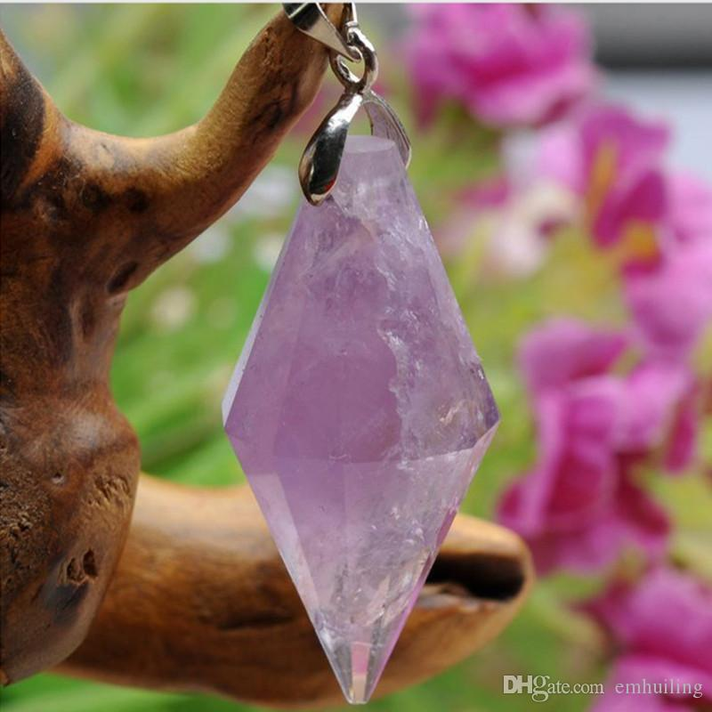 Natural Amethyst Point Pendant Amethystine Quartz Druzy Charm Amatista Pendulum Pendant Energy Healing Crystal Meditation without necklace