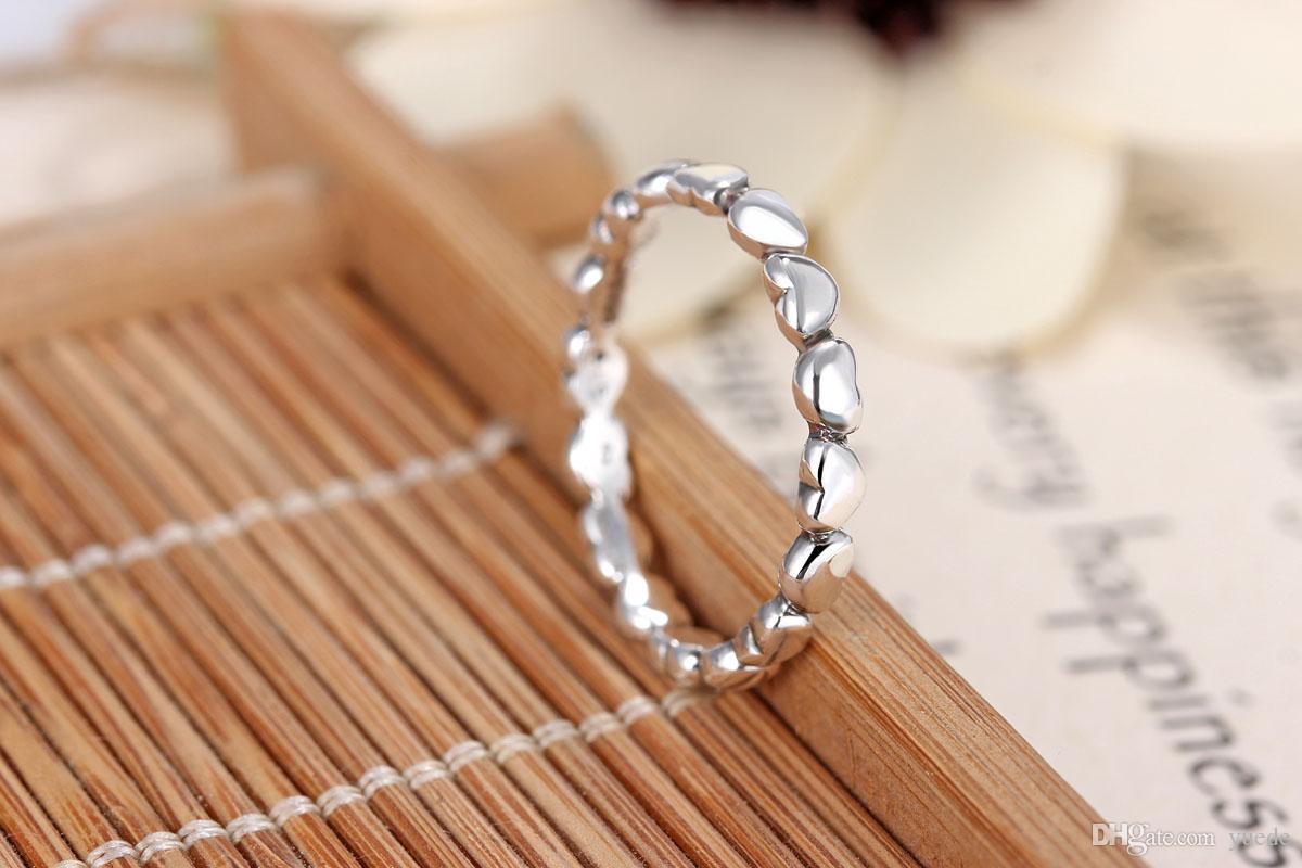 Um atacado 925 coração de prata para anel de coração anel Fit Pandora Cubic Zirconia Aniversário Jóias para Mulheres presente de Natal