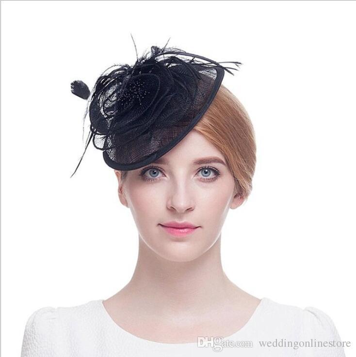 European American New Bridal Fashionable Hairpin Small Hat Black Flax White Flower Wedding Headpiece Wedding Hair Accessories Bridal Headwear