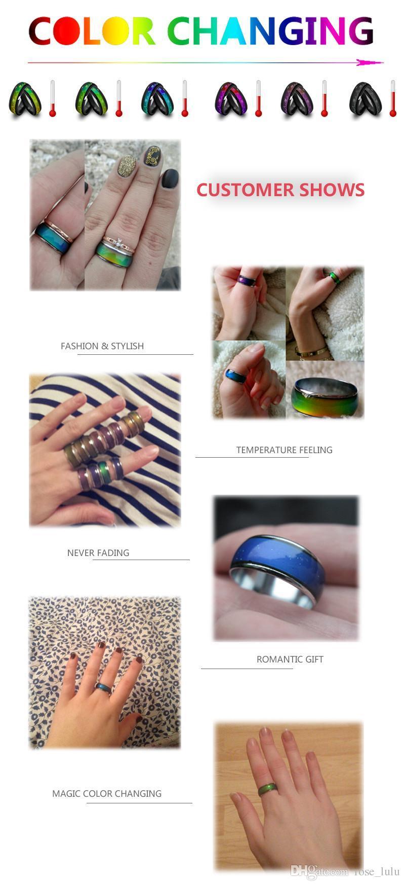 الجملة لون خاتم النساء خواتم الخطبة النحاس أصابع واسعة 6 ملليمتر ميكس الحجم الأزياء المزاج حلقة تغيير الألوان سبيكة مجوهرات dhl شحن