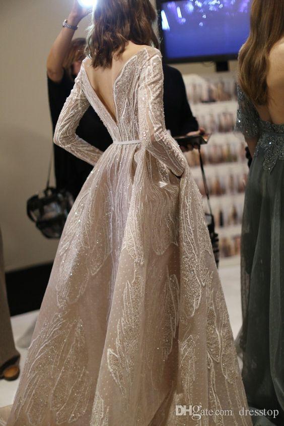 Zuhair Murad 2019 Abendkleider U-Ausschnitt Kristall Abiballkleid mit Flügelärmeln A-Linie rückenfrei New Formal Party Gowns