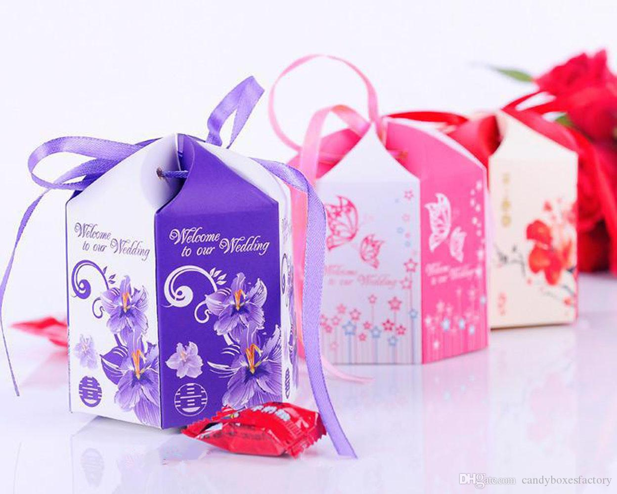 Candy Bag Purple European Style Pastoral Hexagonal Wedding Candy Box ...