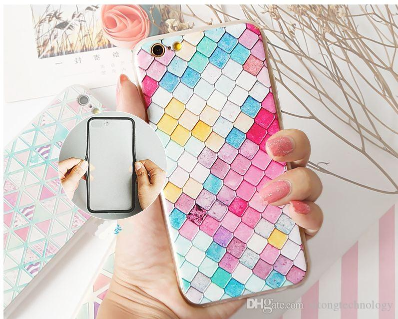 Hot 3D Scales Phone Cases For iPhone X 8 7 6 Plus Case Fashion Colorful Mermaid Cover Case