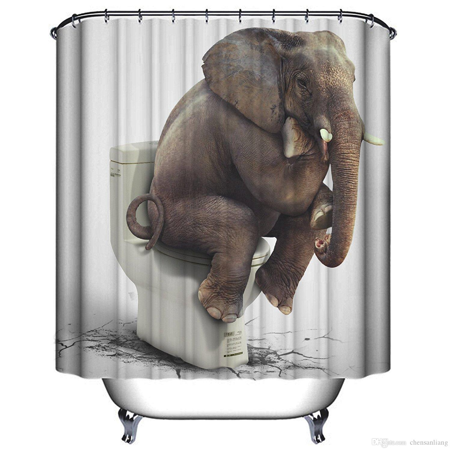 Shower Curtain Funny Elephant Sitting On Toilet Bathroom Polyester Curtains Waterproof Antibacterial With 12 Hooks Bath Canada 2019 From