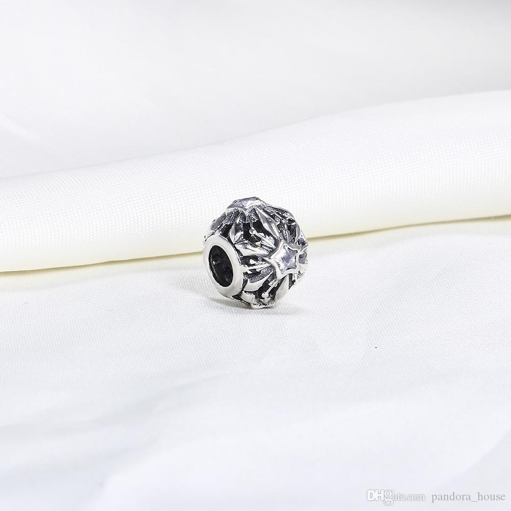 Echt 925 Sterling Silber Nicht Überzogene Stern Kubikzircconia Europäischen Charms Bead Für Pandora Schlangenkette Armband DIY Modeschmuck